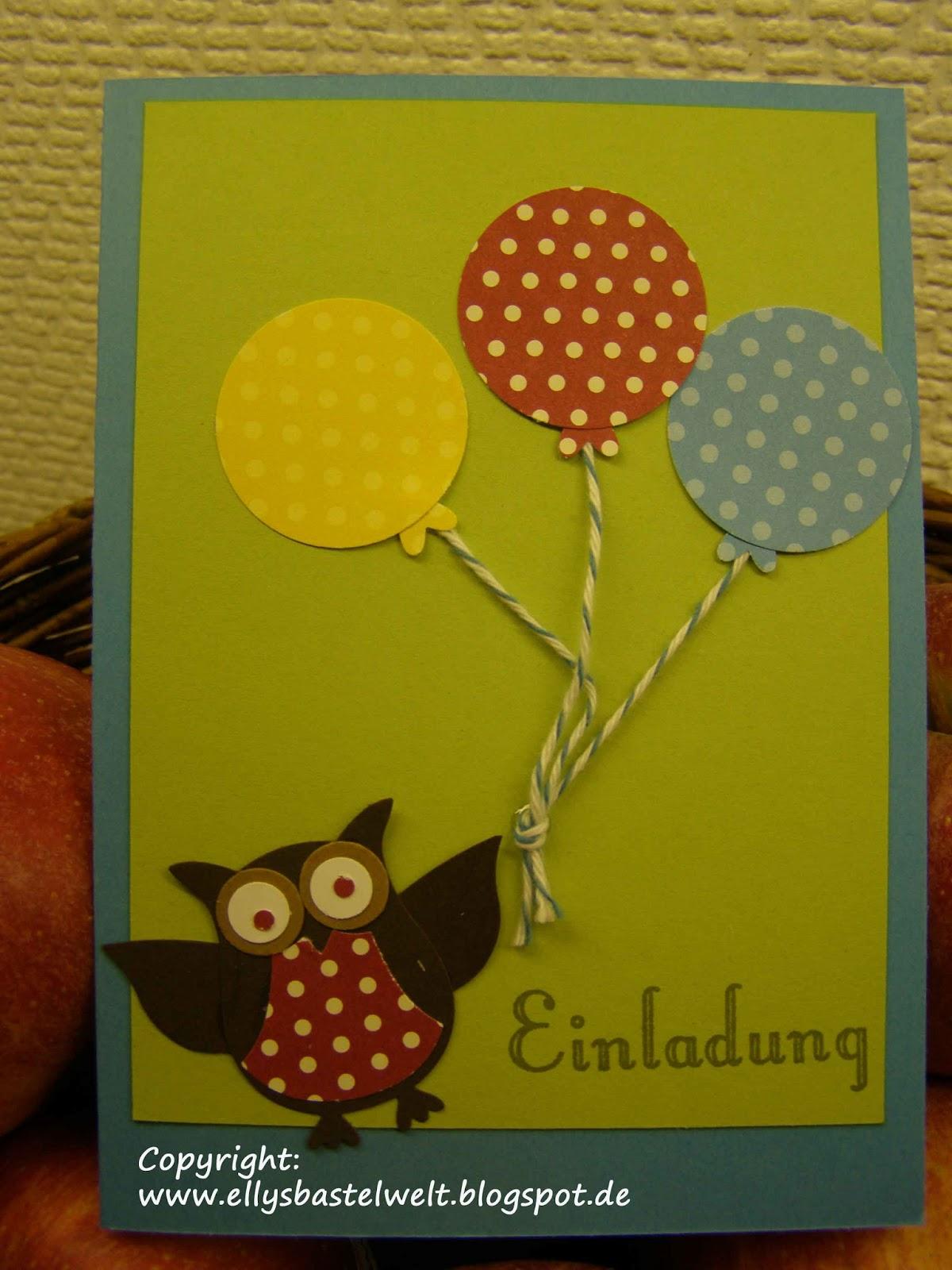 Basteln mit Stempel und Papier: Einladungskarte zum Kindergeburtstag