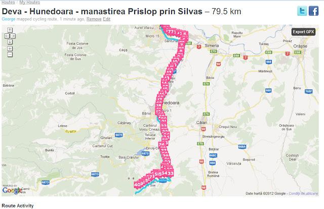 Harta tura bicicleta dus intors - oras Deva - Santuhalm - oras Hunedoara - sat Silvas si manastirea Prislop