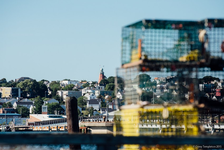 September 2015 Portland, Maine USA Looking towards the Portland Observatory and Munjoy Hill from the working waterfront of South Portland.  Photo by Corey Templeton