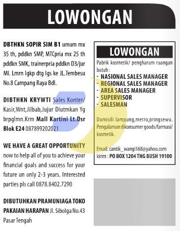 Lowongan Baris Lampung Post 24 Januari 2015