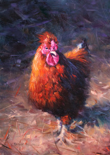 chook, chicken, rooster, oil painting, art