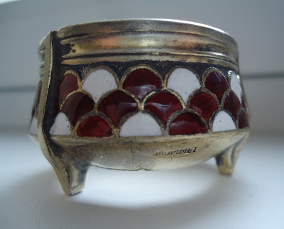 Russian Melhior/Soviet Era Enamel & Silver Alloy Salt, marked UMMET