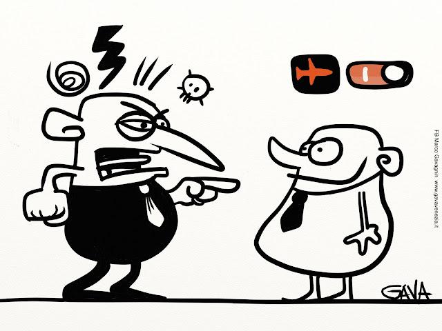 gava gavavenezia vignette satira ridere piangere pensare caricature fumetti aereo iphone urlo maleducazione gridare zitto teschio fulmine vortice