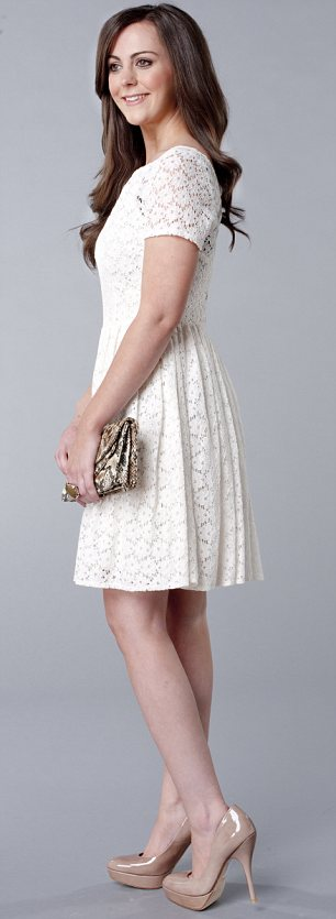 White lace dress, £55, warehouse.co.uk. Clutch, £25, accessorize. com. Nude shoes, £195, lkbennett.com