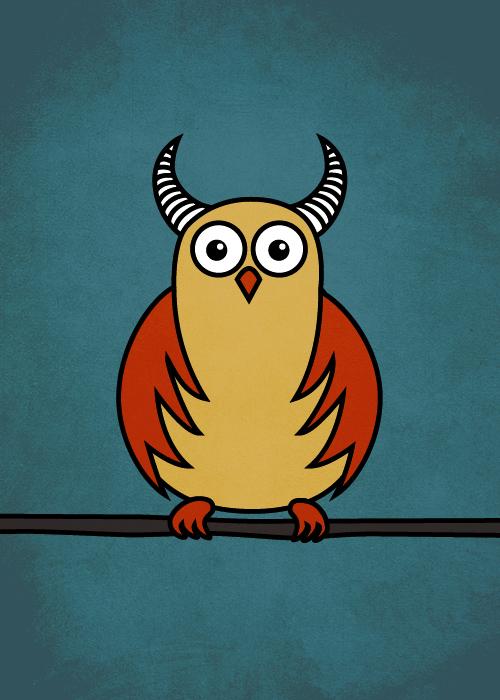 Funny cartoon owl with horns