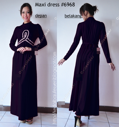 lycra long maxi dress 6968 hanya tinggal warna hitam material lycra