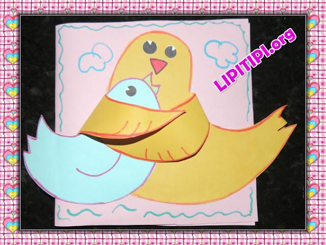 Cartão Dois Pássaros Para Dia das Mães com Molde