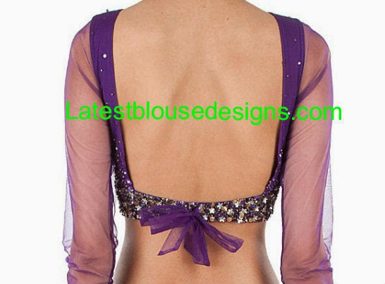 deep back neck blouse