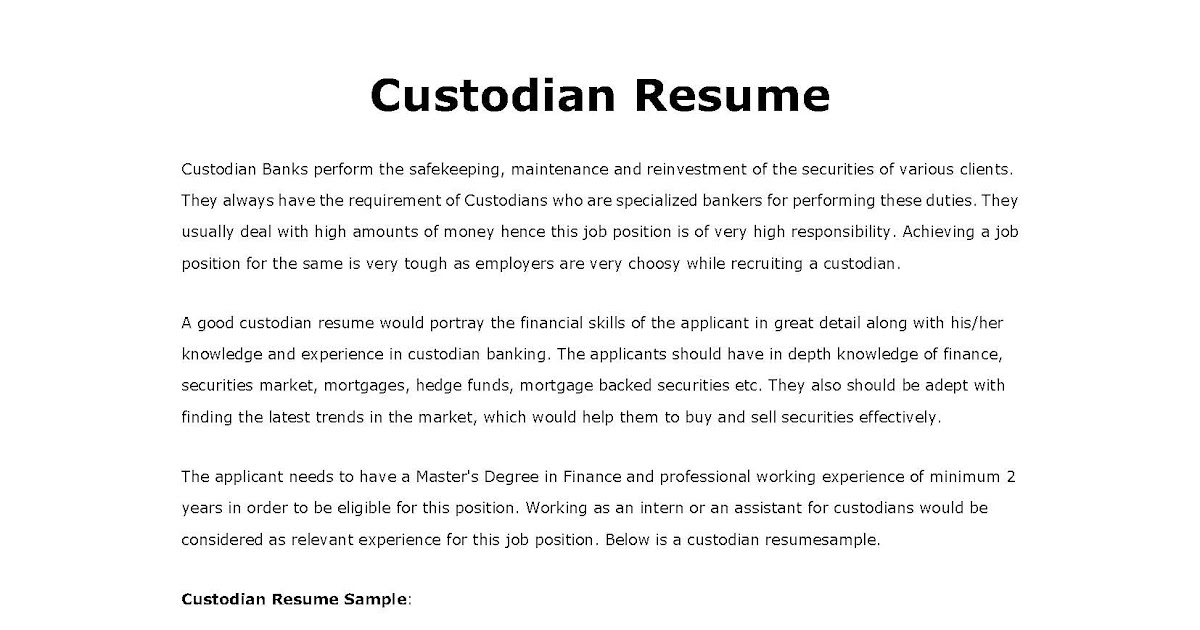 custodian sle resumes