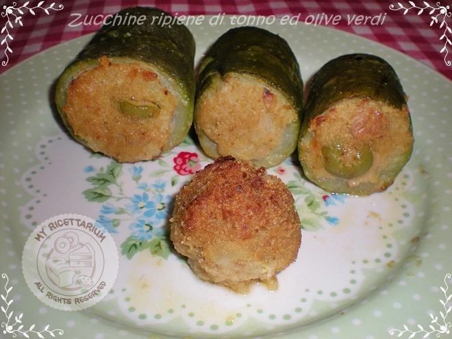 Zucchine ripiene di tonno ed olive verdi