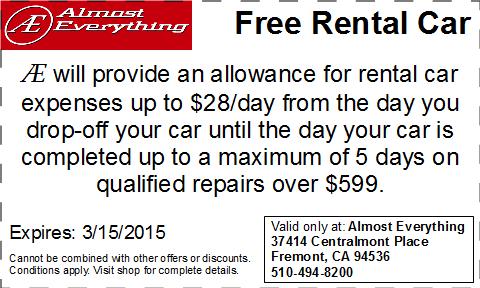 Coupon Free Rental Car February 2015
