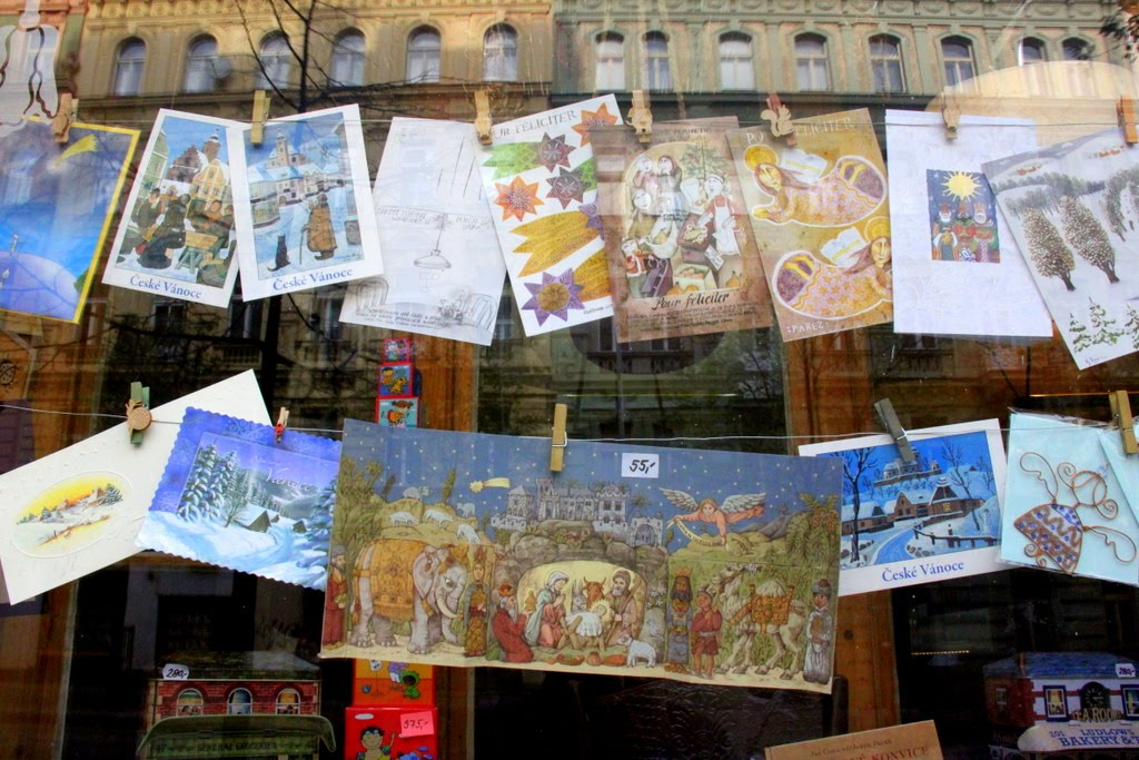 christmas cards in shop window, prague czech republic