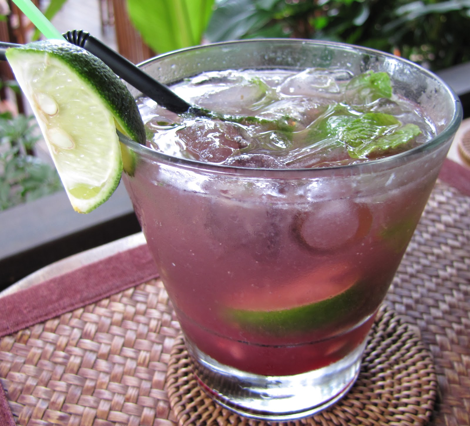 Roselle Mojito - rum, roselle flower, lime juice, soda & mint leaves ...