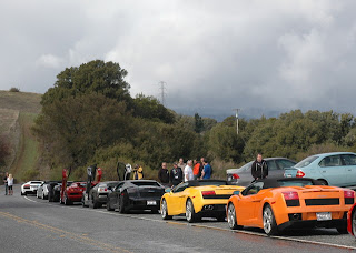 Valentino Balboni, eight Lamborghinis, and drivers