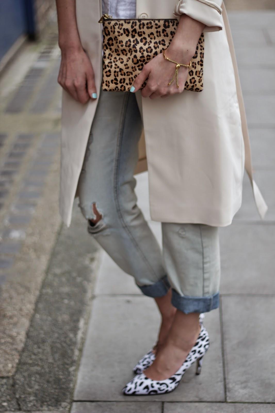 Trench coat, street style, leopard print, j crew, j crew clutch, animal prints, asos heels, asos boyfriend jeans, ripped boyfriend jeans, animal printed heels, , monica vinader jewellery, monica vinader fiji bracelet