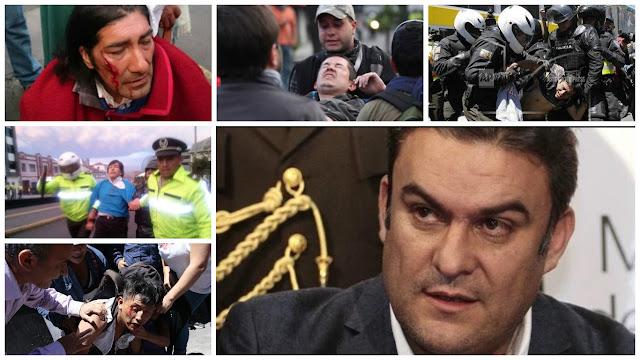 brutal represion policial en Ecuador