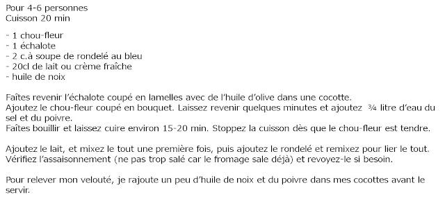 image recette Velouté de chou-fleur au bleu