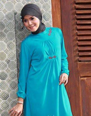 Zenitha Koleksi Busana Muslim Ukuran Big Size biru abu tua