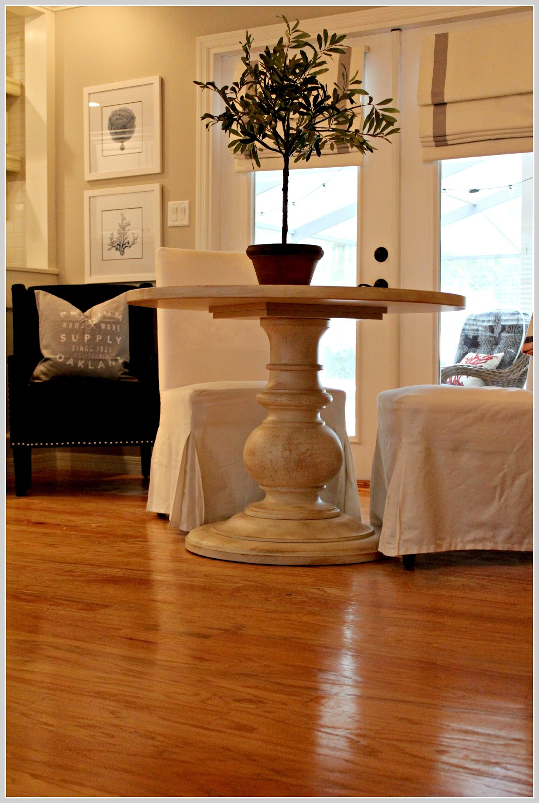 Pottery barn dining table white - I Love The Weathered White Finish And The Large Pedestal Base I Might Not Keep These Chairs With It Though That S Up For Debate