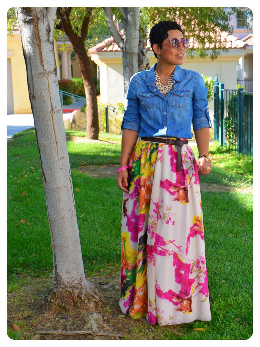ootd diy watercolor maxi skirt denim shirt new recipe