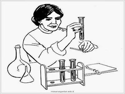 gambar mewarnai ilmuwan di laboratorium