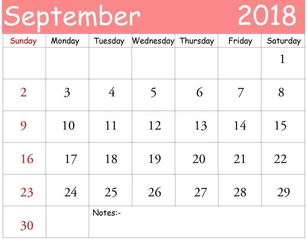 September 2018 CalendarPrintable