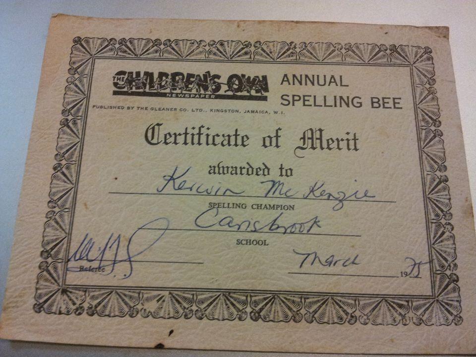 Words By Hand Kerwin Mckenzie Spelling Bee Certificate