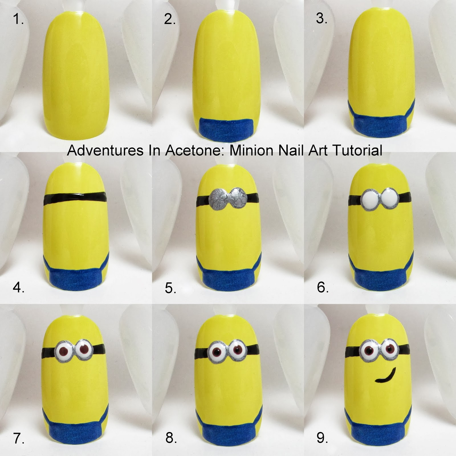 Tutorial Tuesday Minion Nail Art Adventures In Acetone