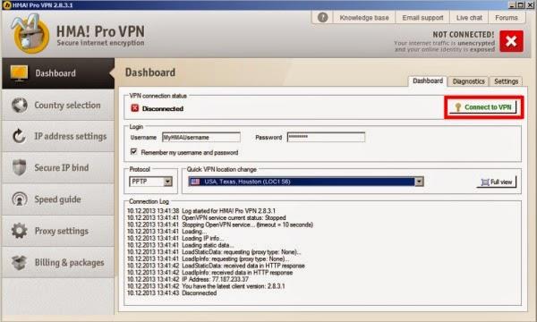 hma pro vpn 2.6.9 username and password