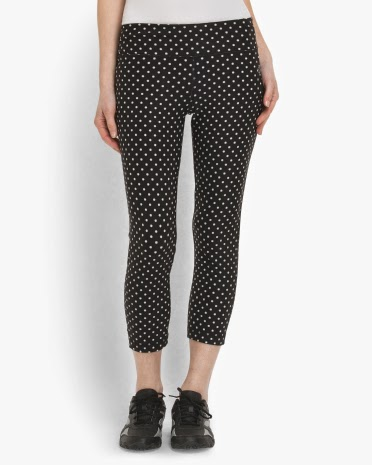 Style Athletics Black White VOGO TJMaxx Workout Pants Capris Polka Dot