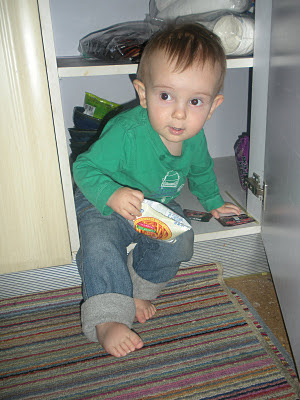 boy leaving Narnia with a snack