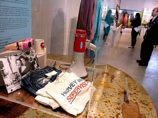 Objetos de Harvey Milk no 'Espaço LGBT History Museum', em San Francisco, nos EUA (Foto: Getty Images)
