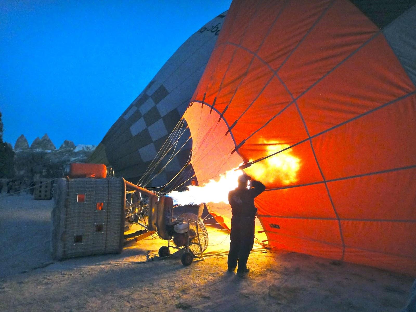 Warming up balloon at Cappadocia Turkey