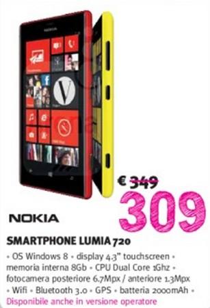 Discreta offerta nell'ultimo volantino di Supermedia che dura fino ai primi giorni di Luglio che propone il Lumia 720 a 309 euro