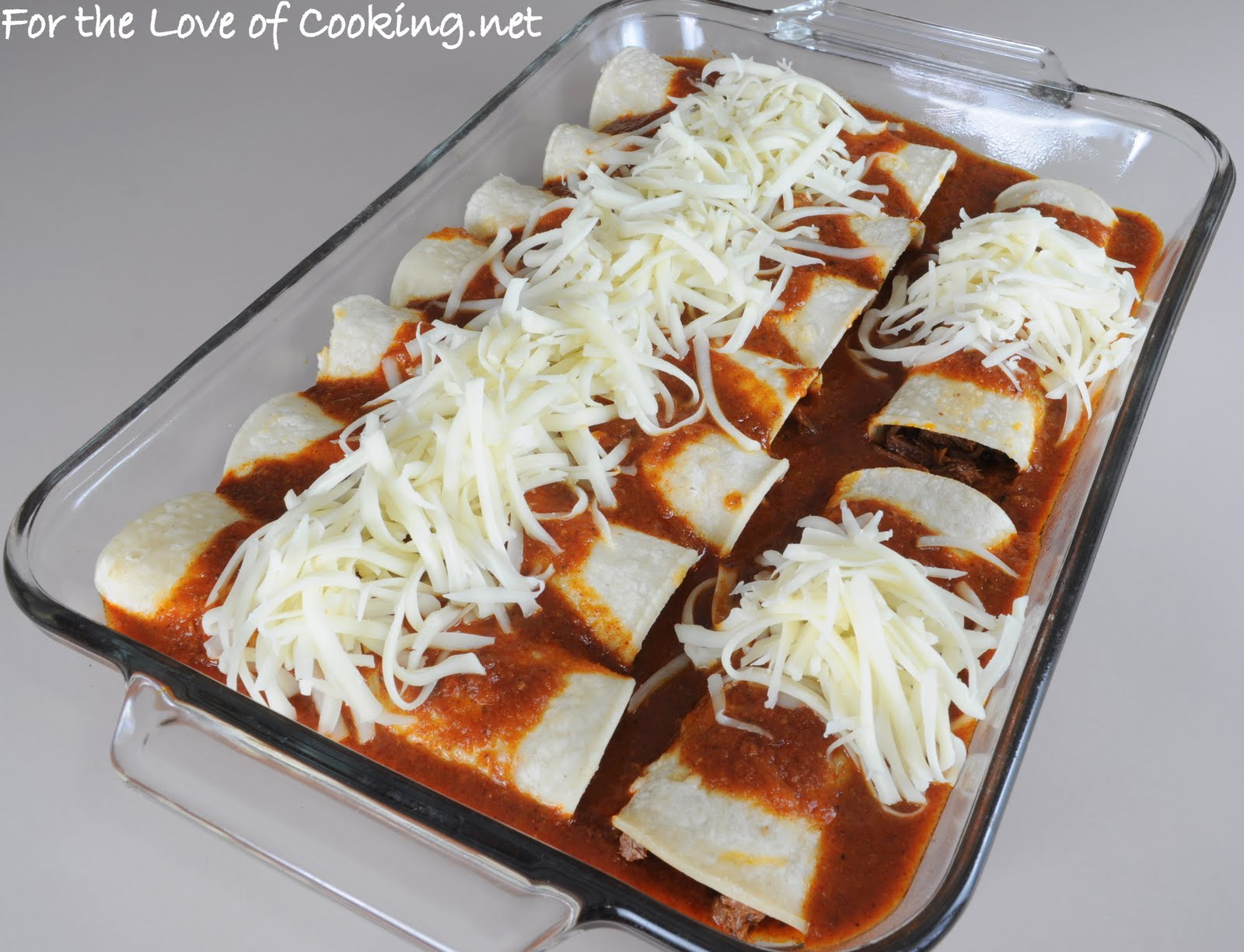 Shredded Beef Enchiladas with Homemade Enchilada Sauce | For the Love ...
