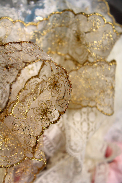 design materials - catherine masi - gold and white lace