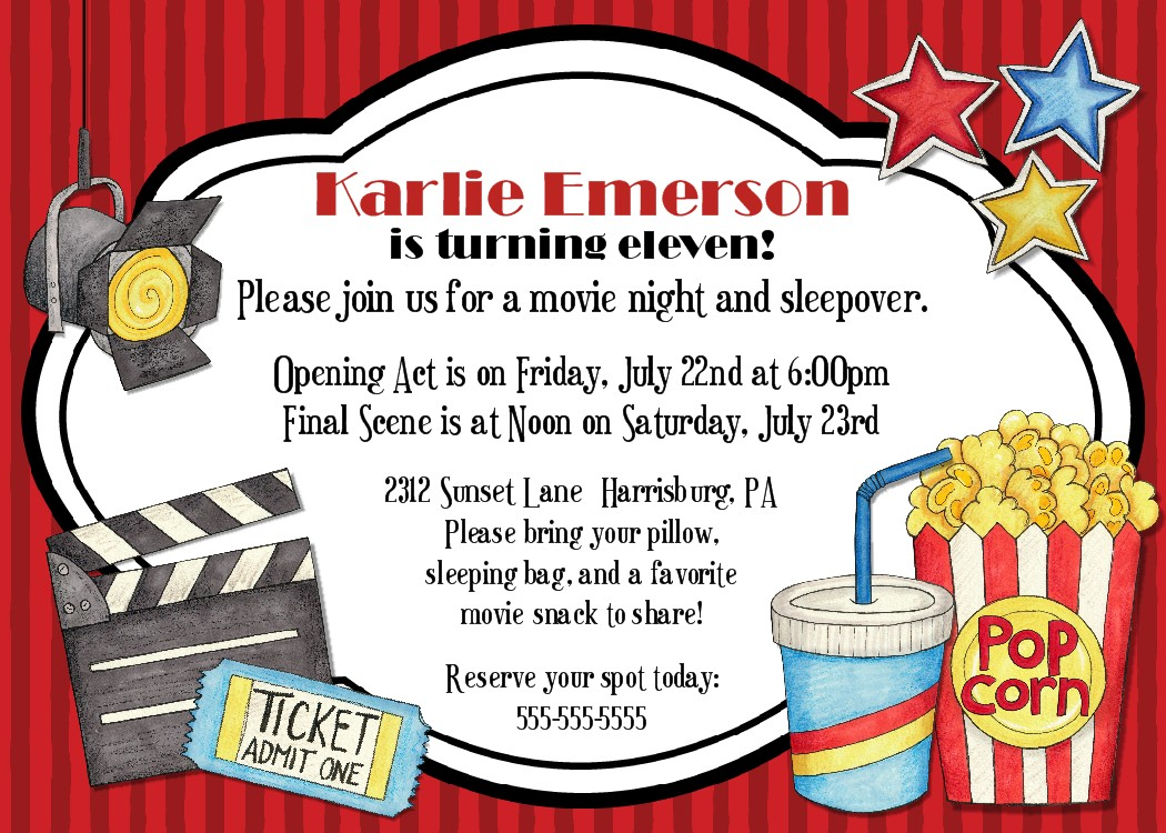 movie night birthday party invitation got a birthday party coming up ...