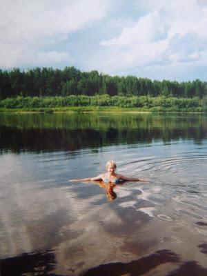 купаться, река, Левково, лето, деревня, Россия