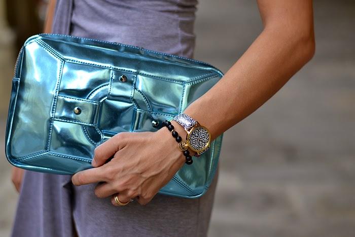 borsa homanz azzurro metallizzato