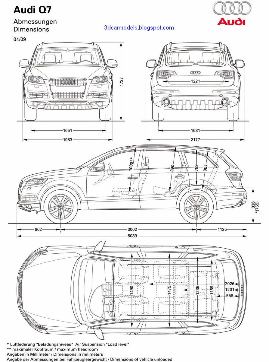 Car blueprints and free 3d models blueprint audi q7 2010 for Free 3d blueprints