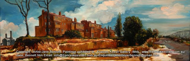"oil painting of Pyrmont industrial heritage "" Ways Terrace"" 1994 oil on board 41x122cm  by Jane Bennett, Artist"
