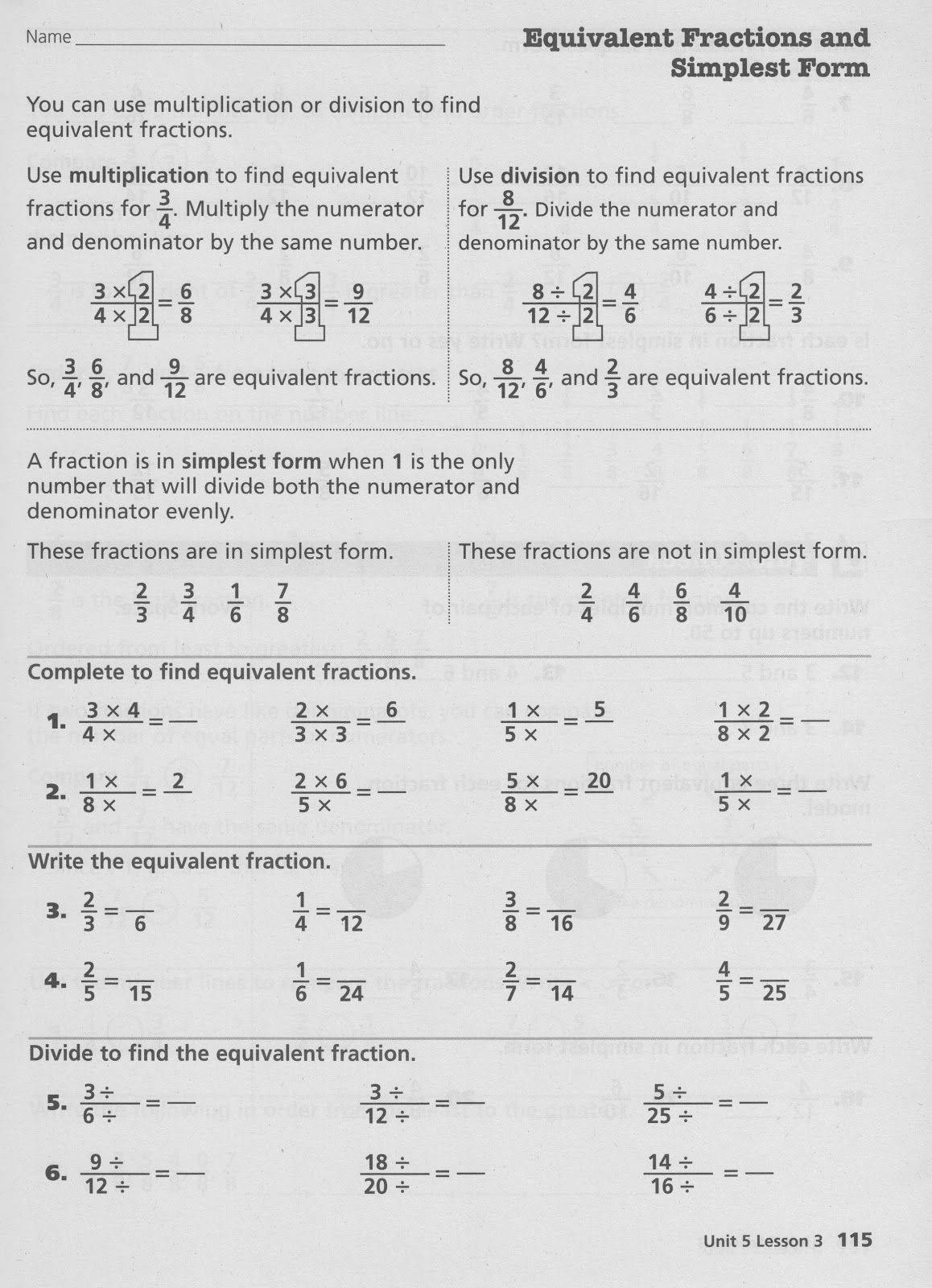 Homework 2012-2013: February 21st - Equivalent Fractions and ...