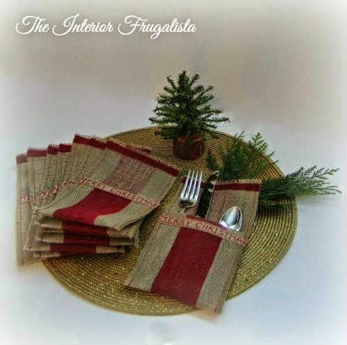 DIY Red striped holiday flatware pouches View 1