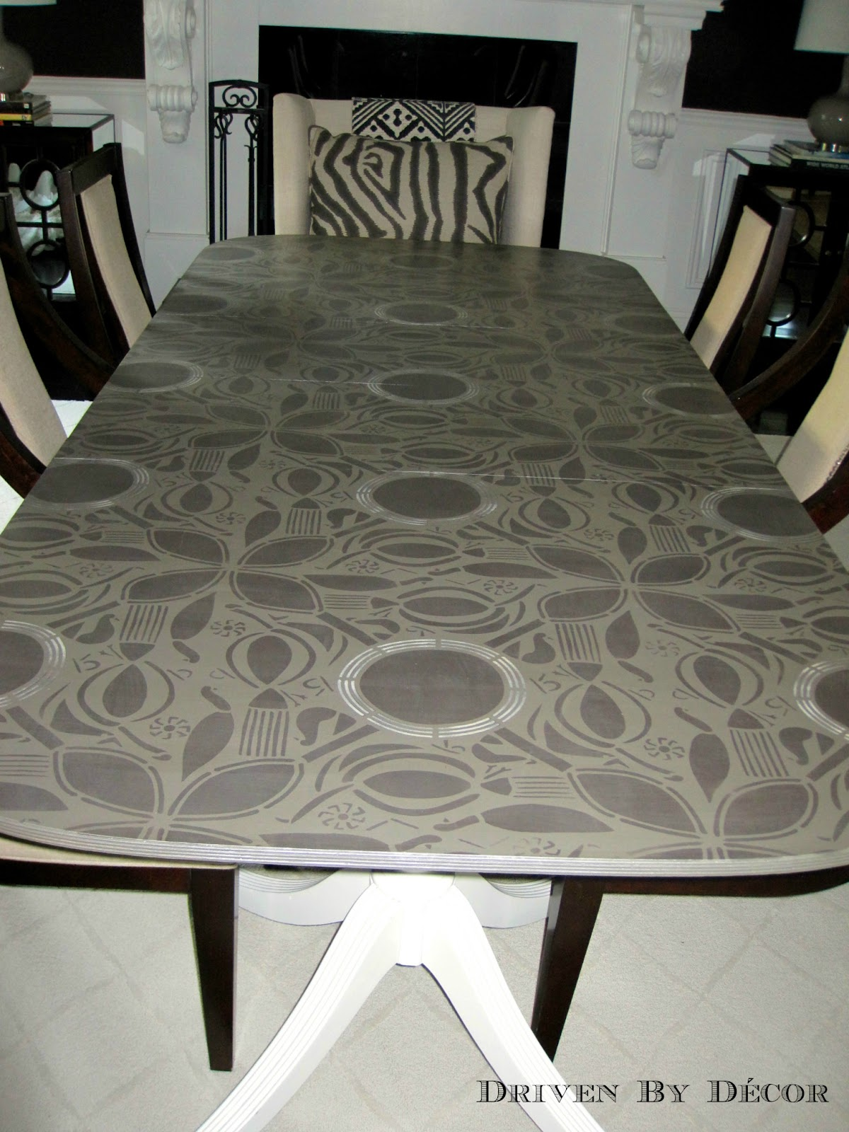 Stunning stenciled table driven by decor for Stenciled dining room table
