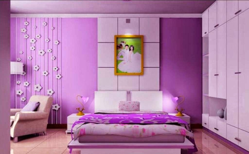 purple design minimalist bedroom paint color
