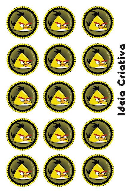 Toppers para docinhos de Aniversário Angry Birds Yellow Bird