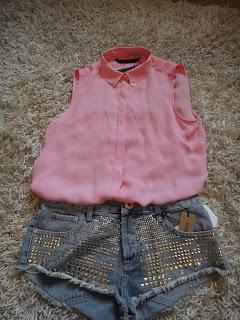 Studded Shorts, Gold Studded Shorts, Pink Shirt, Festival Shorts, River Island Shorts, Zara Shirt