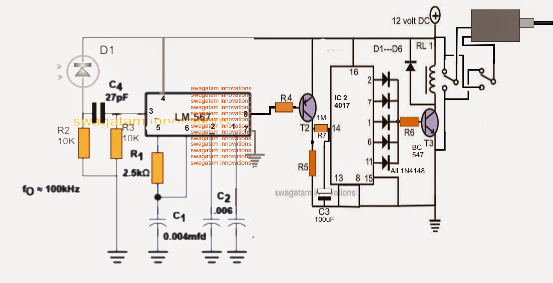 IR Remote Controlled Door Lock Circuit