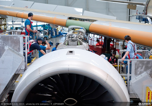 Installing Rolls Royce Trent XWB engine on first Airbus A350 XWB MSN1 at Tolouse