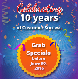 10 Years Celebration Specials
